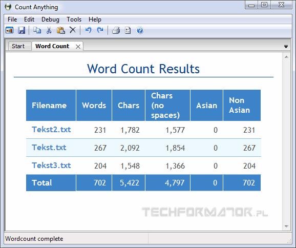 CountAnything, wyniki analizy plików