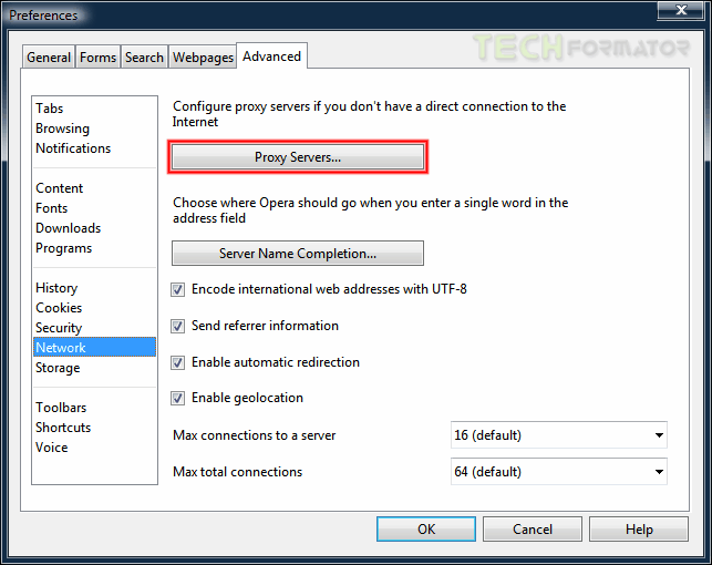Opera konfiguracja proxy