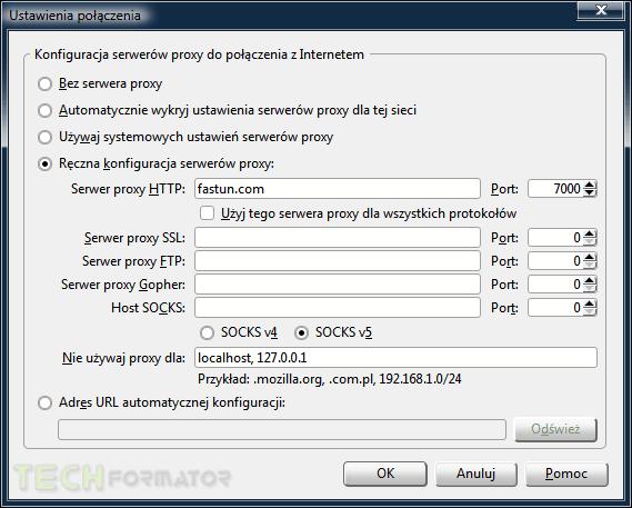 Firefox, ustawienia połączenia proxy