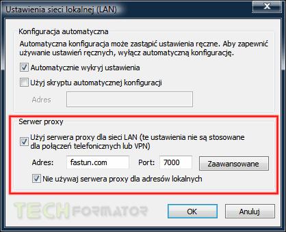 Proxy, ustawienia sieci lokalnej LAN