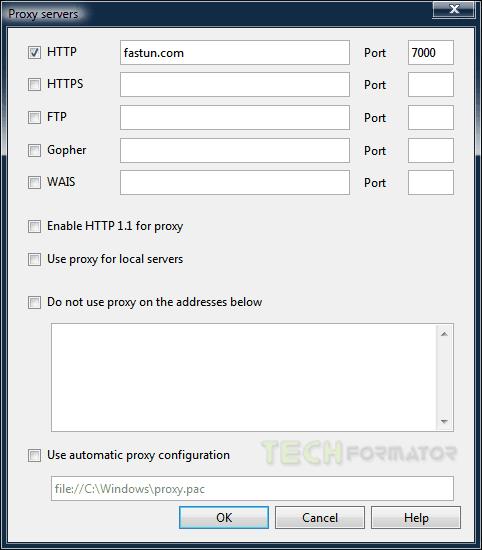 Okno serwery proxy