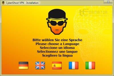 CyberGhost VPN, wybór języka instalacji