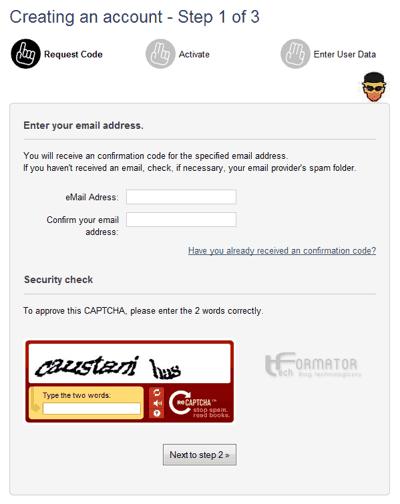 Rejestracja konta CyberGhost