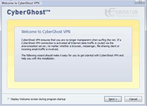 Konfiguracja CyberGhost, ekran powitalny