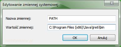 Edytowanie zmiennej systemowej