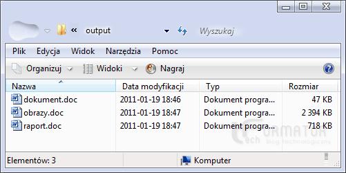 Folder z przetworzonymi dokumentami Word