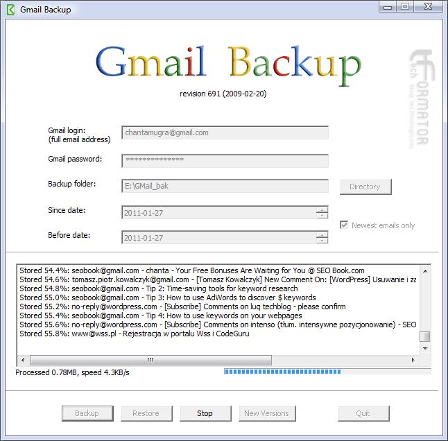Gmail Backup, tworzenie kopii