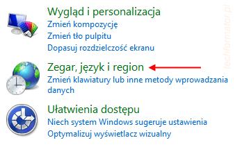 Zegar, język, region