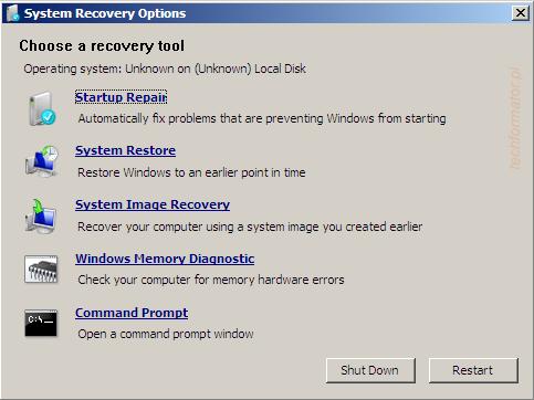 Opcje naprawy systemu Windows