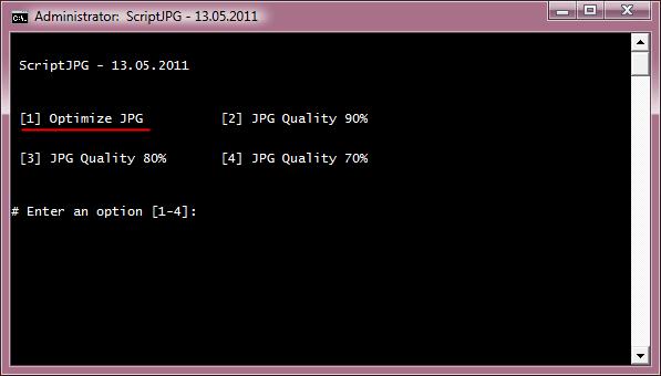 ScriptJPG, wybór metody optymalizacji