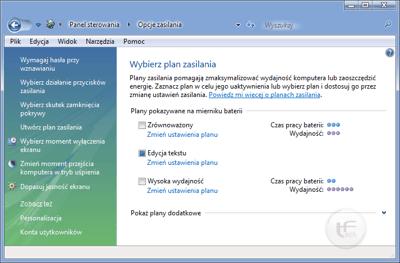 Opcje zasilania Windows