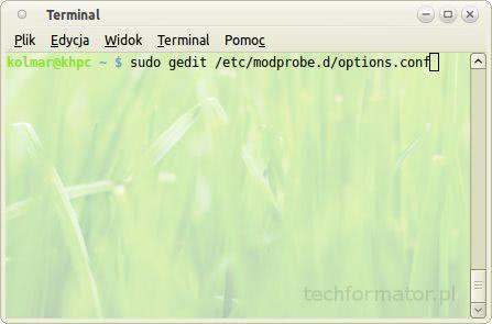 gedit, edycja pliku options.conf