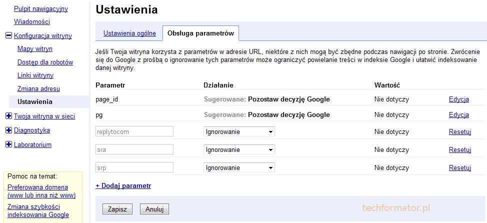 Ustawienia Google Webmasters Tools