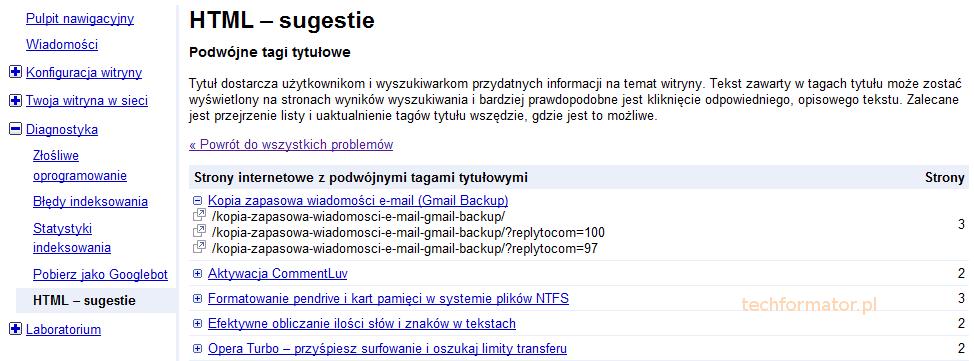 Centrum dla webmasterów, HTML sugestie