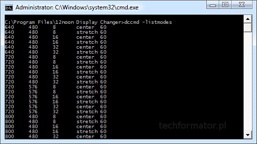 Zmiana rozdzielczości ekranu pod konsolą Windows