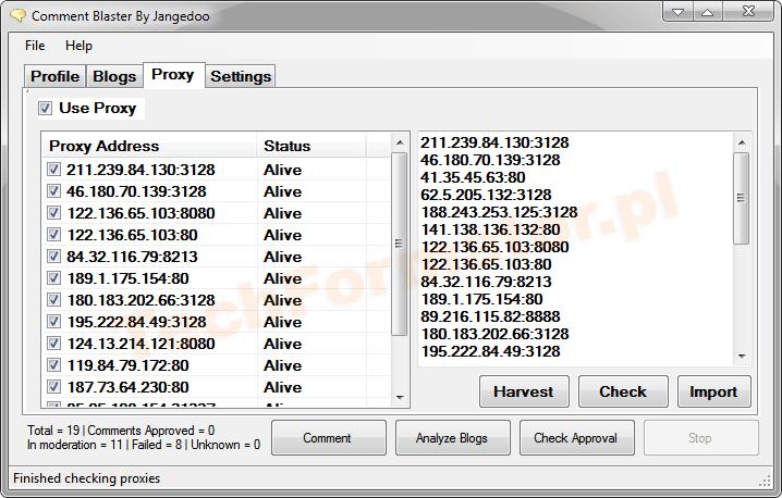 Zakładka Proxy