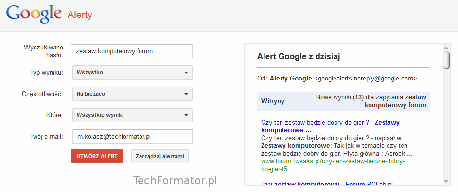 Alerty Google tworzenie powiadomienia e-mail