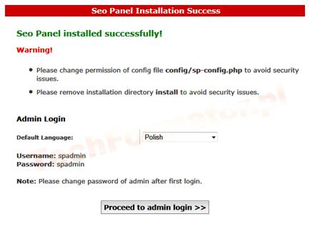 Koniec instalacji SeoPanel