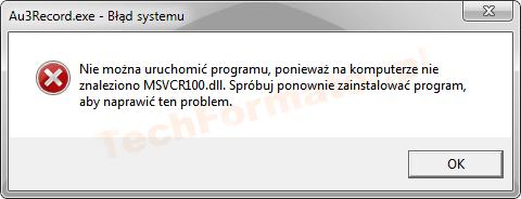 Błąd MSVCR100.dll