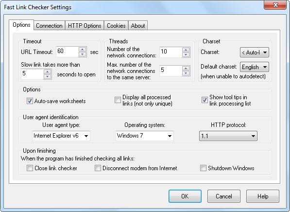 Opcje Fast Link Checker Lite