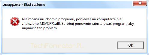 Brak msvcr71.dll