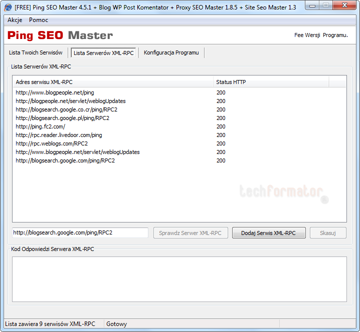 PSM lista serwerów XML-RPC