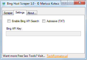 Settings Bing Host Scraper