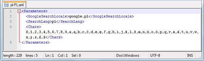 Język sugestii Google