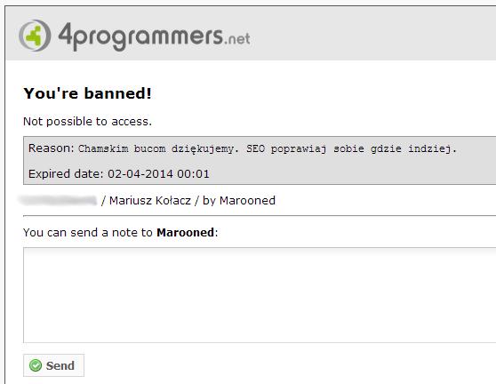 Ban na forum