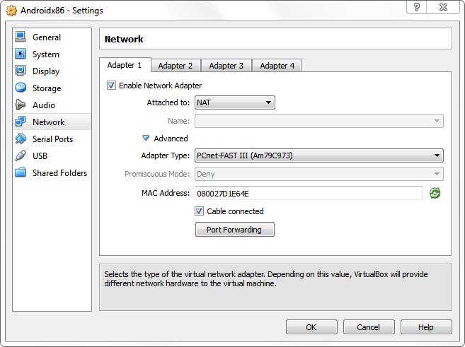 Ustawienia sieci w VirtualBox
