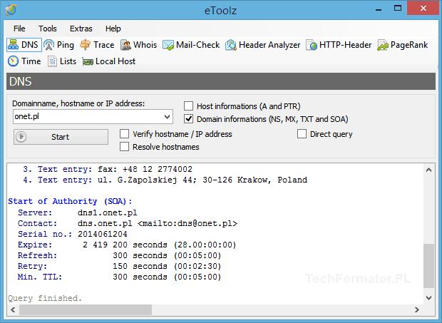 Sprawdzanie DNS - eToolz