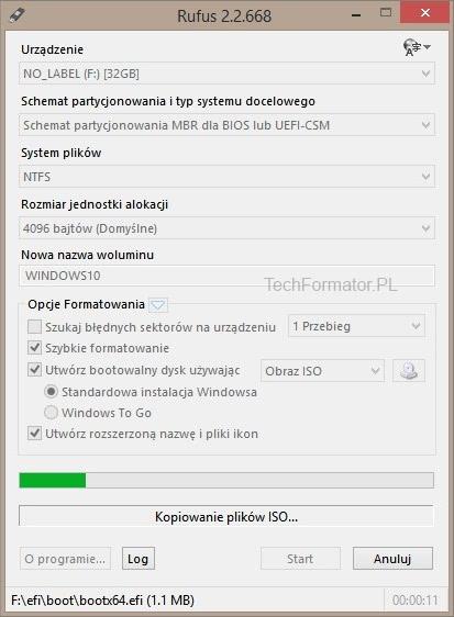 Rufus - kopiowanie plików ISO