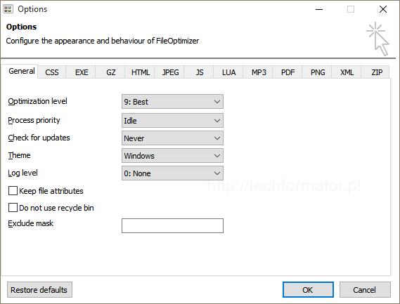 Opcje FileOptimizer