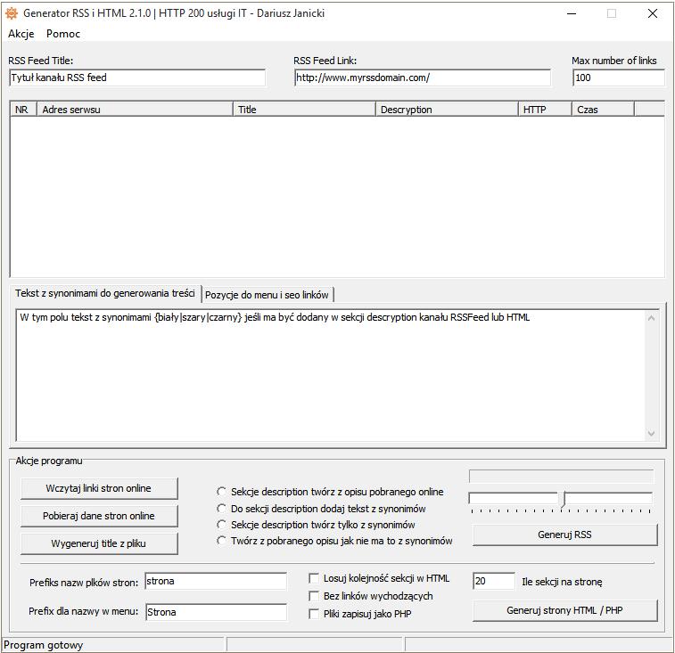 Generator RSS i HTML
