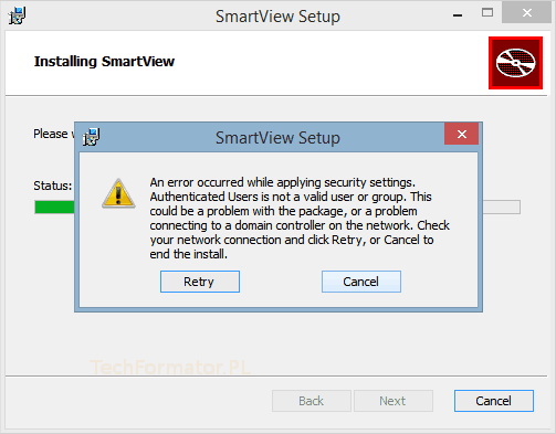 SmartView Setup Error
