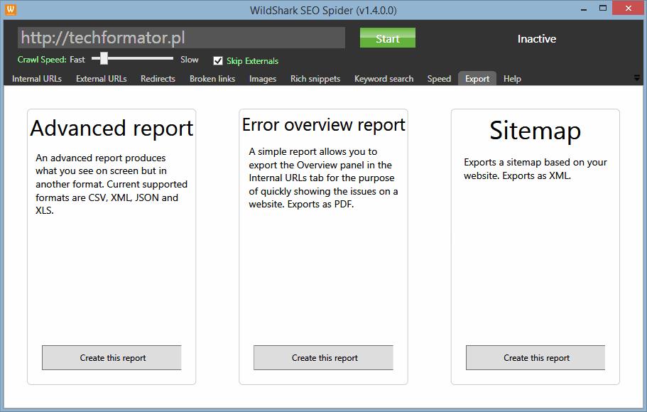 Export raportów w WildShark