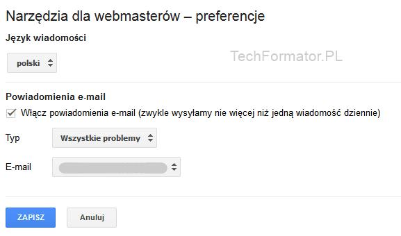 Narzędzia dla webmasterów - powiadomienia e-mail