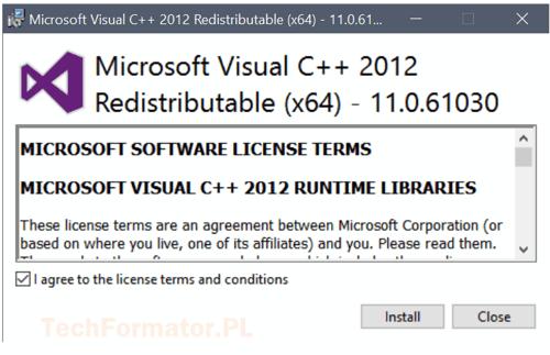 Instalacja Visual C++ 2012