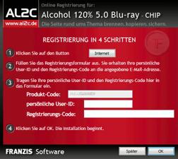 Formularz rejestracyjny Alcohol 120%