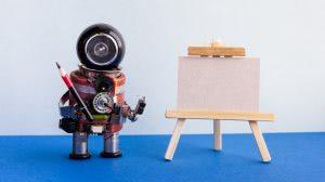 robot przy tablicy