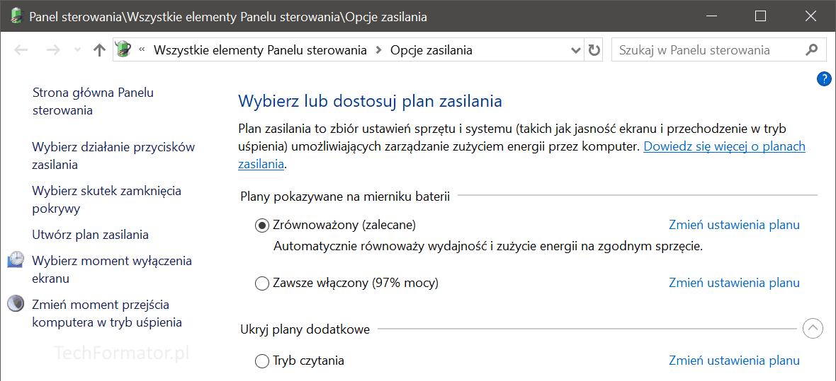 Opcje zasilania w Windows 10