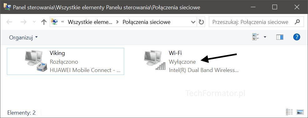 polaczenia sieciowe wylaczona karta wifi
