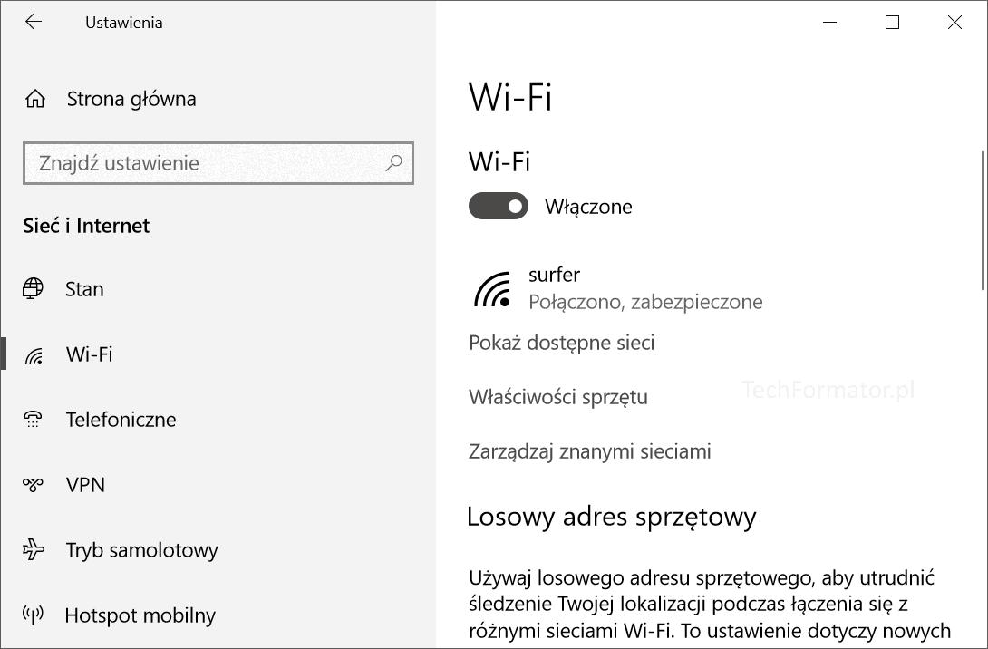 zarzadzaj znanymi siecami windows 10