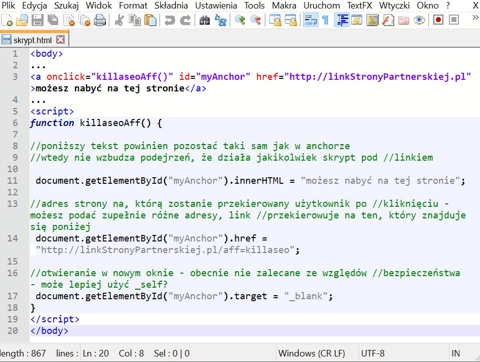 kod skryptu afiliacyjnego 1