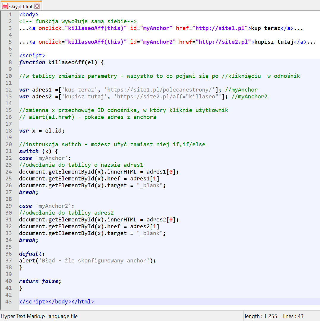 kod skryptu afiliacyjnego 2