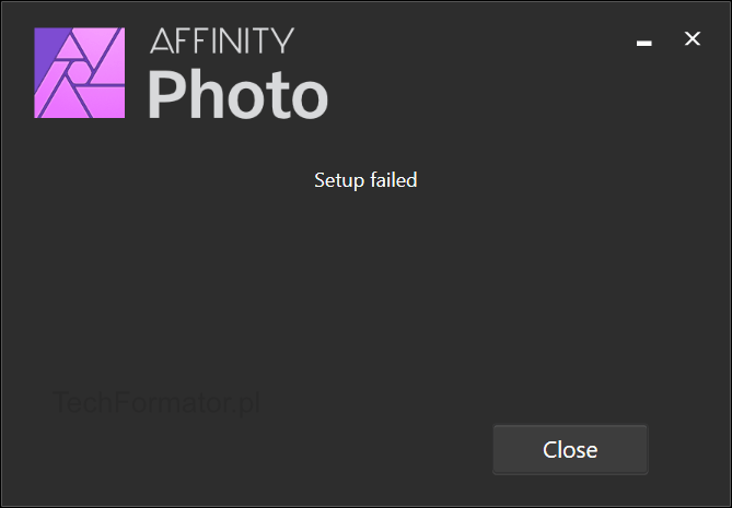 Affinity Photo Setup Failed