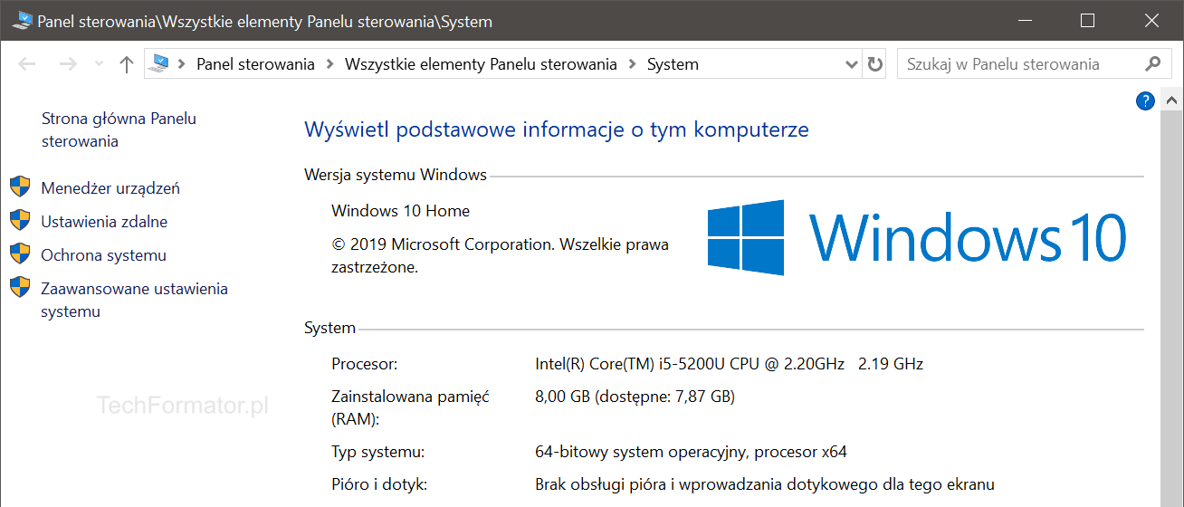 System Windows 10 - Informacje