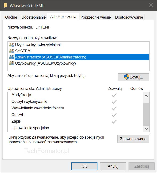 Właściwości katalogu TEMP w Windows 10