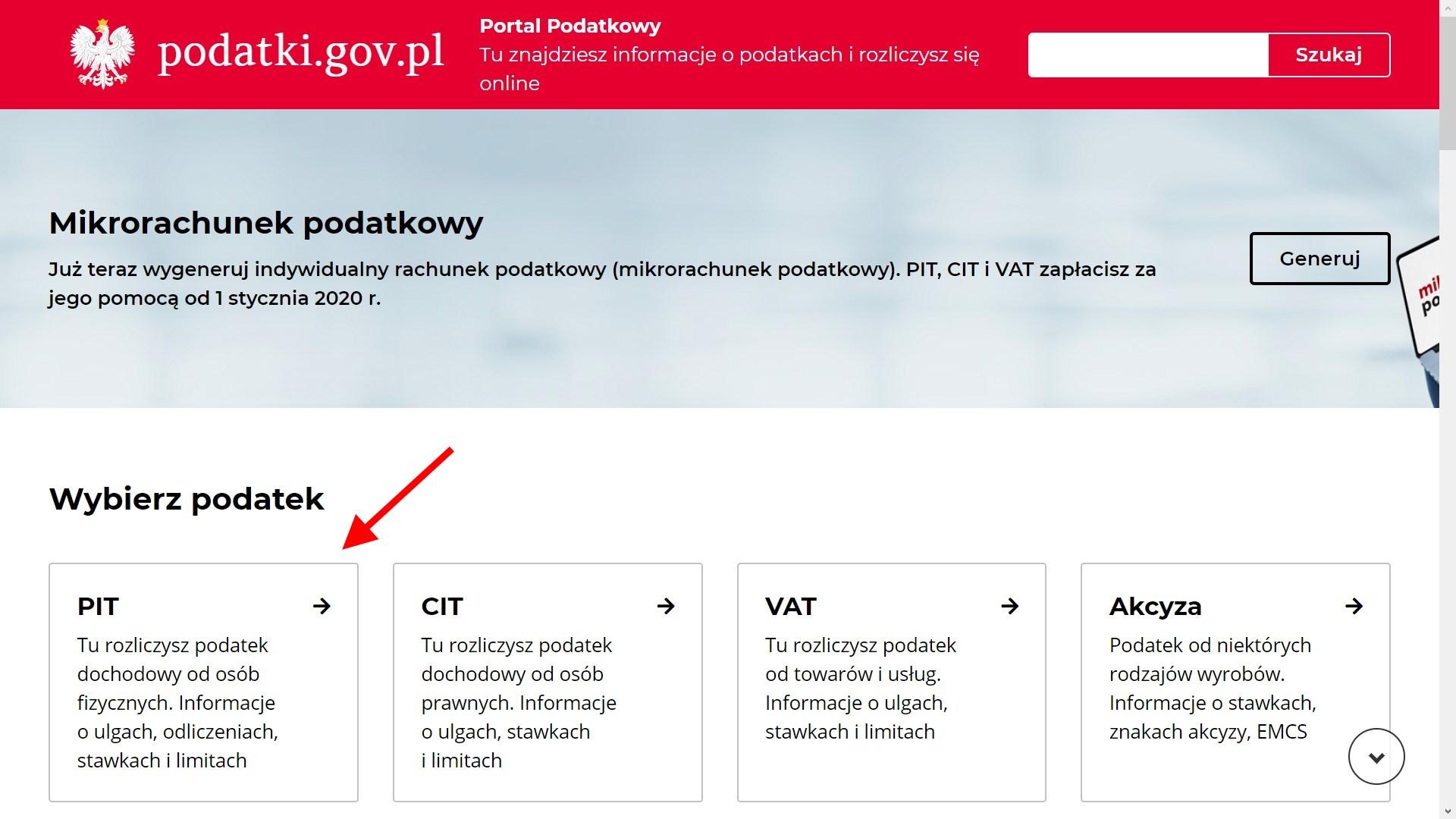 Portal podatkowy PIT