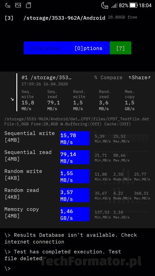 Test karty Toshiba MicroSDXC M203 na smartfonie 2